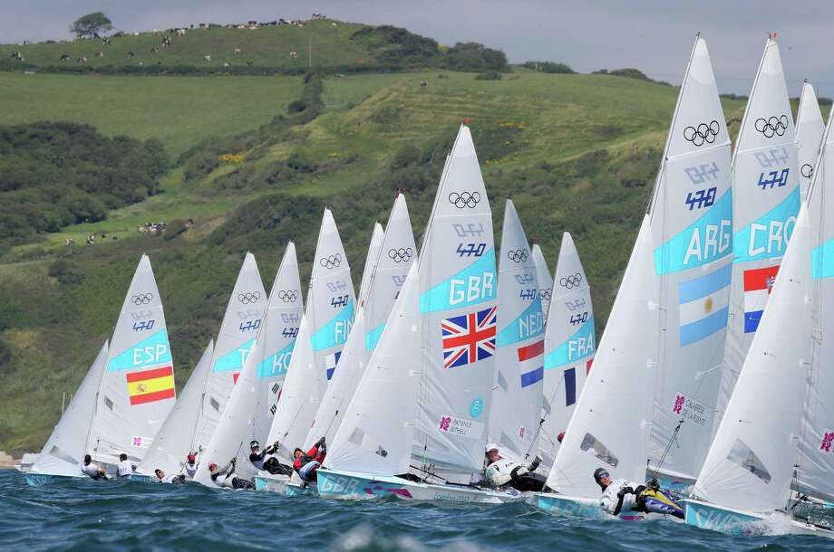 WEYMOUTH, ENGLAND - AUGUST 06:  Luke Patience and Stuart Bithell of Great Britain compete in the Men's 470 Sailing on Day 10 of the London 2012 Olympic Games at the Weymouth & Portland Venue at Weymouth Harbour on August 6, 2012 in Weymouth, England. Photo: Clive Mason, Getty Images / 2012 Getty Images