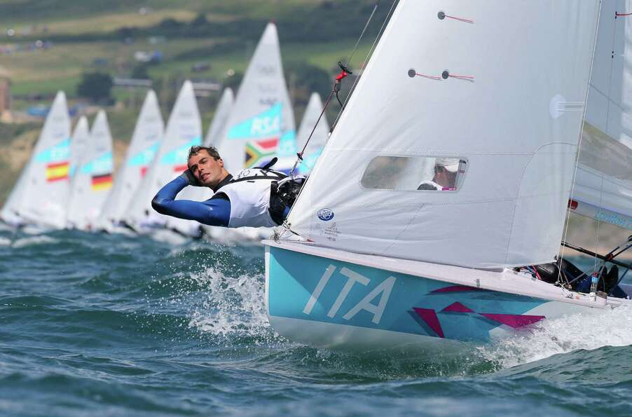 WEYMOUTH, ENGLAND - AUGUST 06:  Gabrio Zandona and Pietro Zucchetti of Italy compete in the Men's 47