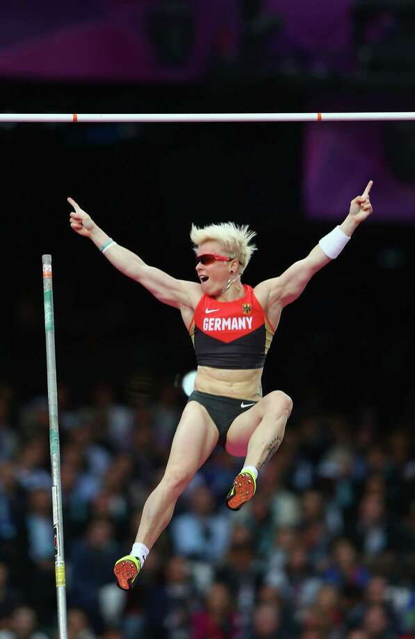 LONDON, ENGLAND - AUGUST 06:  Martina Strutz of Germany reacts after clearing the bar in the Women's Pole Vault final on Day 10 of the London 2012 Olympic Games at the Olympic Stadium on August 6, 2012 in London, England. Photo: Michael Steele, Getty Images / 2012 Getty Images