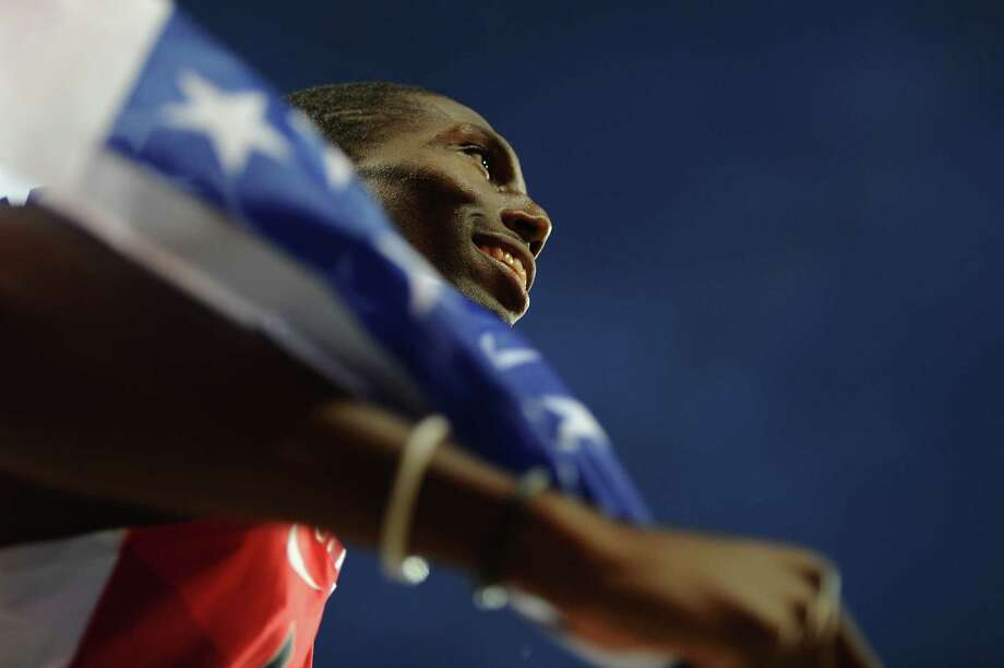 LONDON, ENGLAND - AUGUST 06:  Michael Tinsley of the United States celebrates after winning the silver medal in the Men's 400m Hurdles final on Day 10 of the London 2012 Olympic Games at the Olympic Stadium on August 6, 2012 in London, England. Photo: Mike Hewitt, Getty Images / 2012 Getty Images