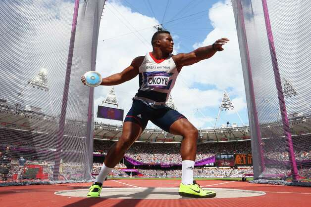 LONDON, ENGLAND - AUGUST 06:  Lawrence Okoye of Great Britain competes in the Men's Discus Throw qualification 5on Day 10 of the London 2012 Olympic Games at the Olympic Stadium on August 6, 2012 in London, England. Photo: Michael Steele, Getty Images / 2012 Getty Images