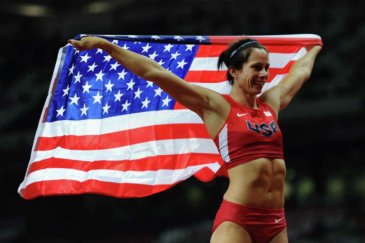 LONDON, ENGLAND - AUGUST 06: Jennifer Suhr of the United States celebrates after winning the gold medal in the Women's Pole Vault final on Day 10 of the London 2012 Olympic Games at the Olympic Stadium on August 6, 2012 in London, England.