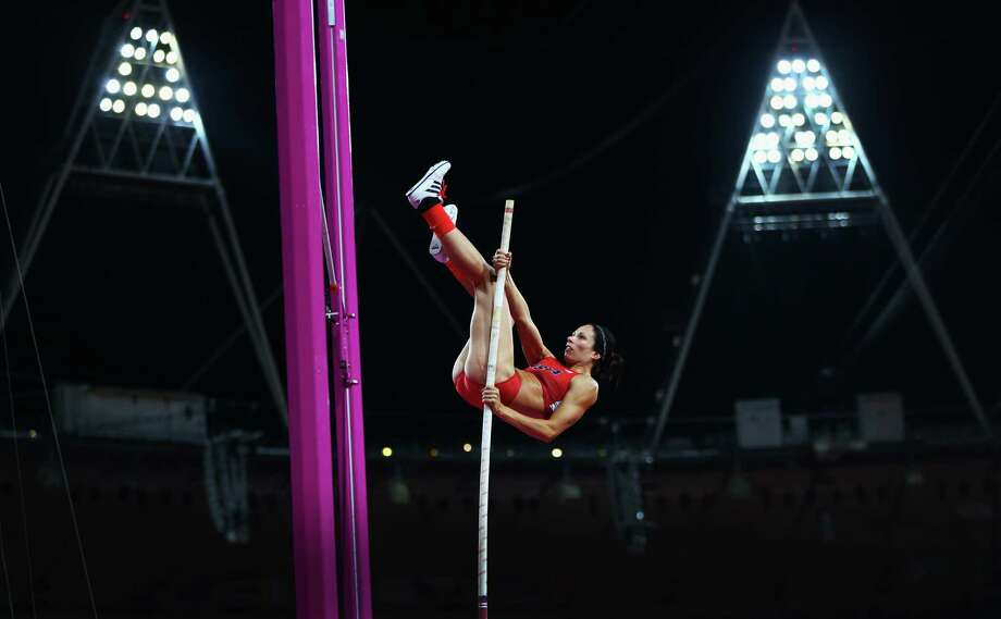 LONDON, ENGLAND - AUGUST 06:  Jennifer Suhr of the United States competes in the Women's Pole Vault final on Day 10 of the London 2012 Olympic Games at the Olympic Stadium on August 6, 2012 in London, England. Photo: Michael Steele, Getty Images / 2012 Getty Images