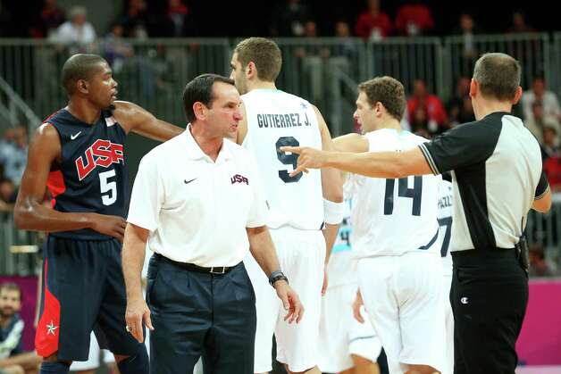 LONDON, ENGLAND - AUGUST 06:  Head coach of the United States Mike Krzyzewski reacts during an altercation between team United States and Argentina during the Men's Basketball Preliminary Round match against Argentina on Day 10 of the London 2012 Olympic Games at the Basketball Arena on August 6, 2012  in London, England. Photo: Christian Petersen, Getty Images / 2012 Getty Images
