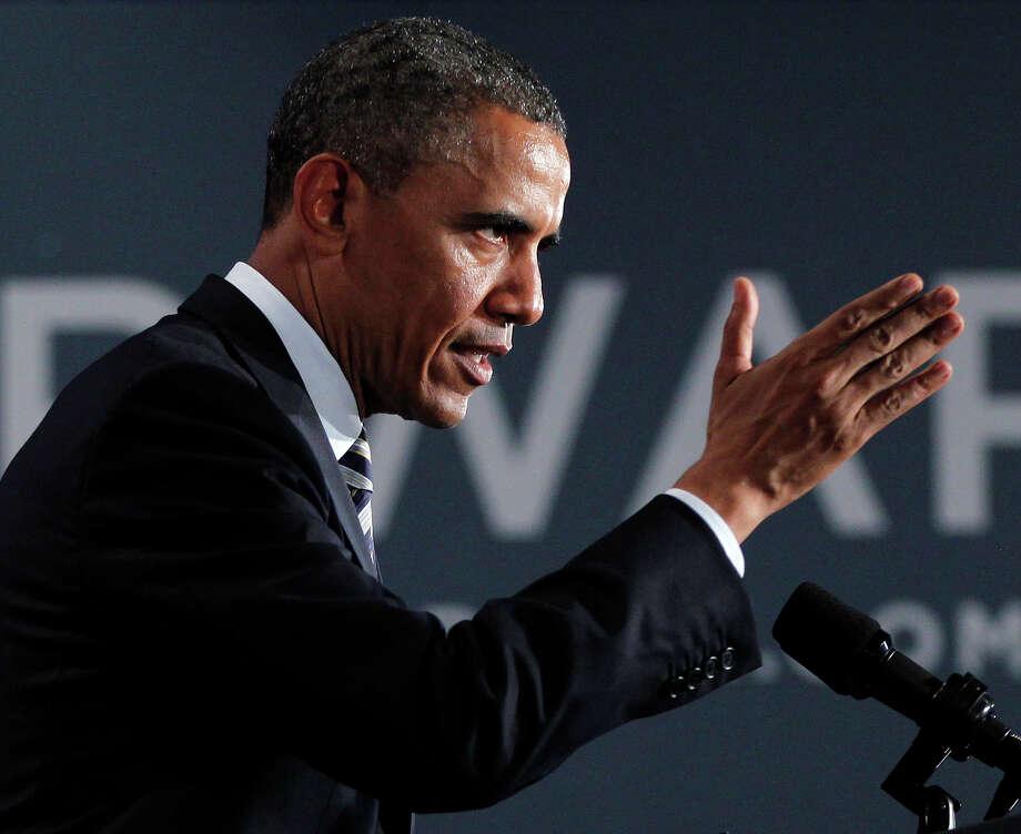 President Barack Obama speaks at a campaign fundraiser in Stamford, Conn., Monday, Aug., 6, 2012. (AP Photo/Pablo Martinez Monsivais) Photo: Associated Press