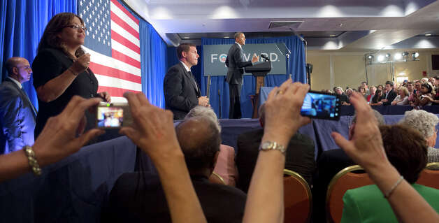 President Barack Obama, center, speaks at a campaign fundraiser in Stamford, Conn., Monday, Aug., 6, 2012. (AP Photo/Pablo Martinez Monsivais) Photo: Associated Press