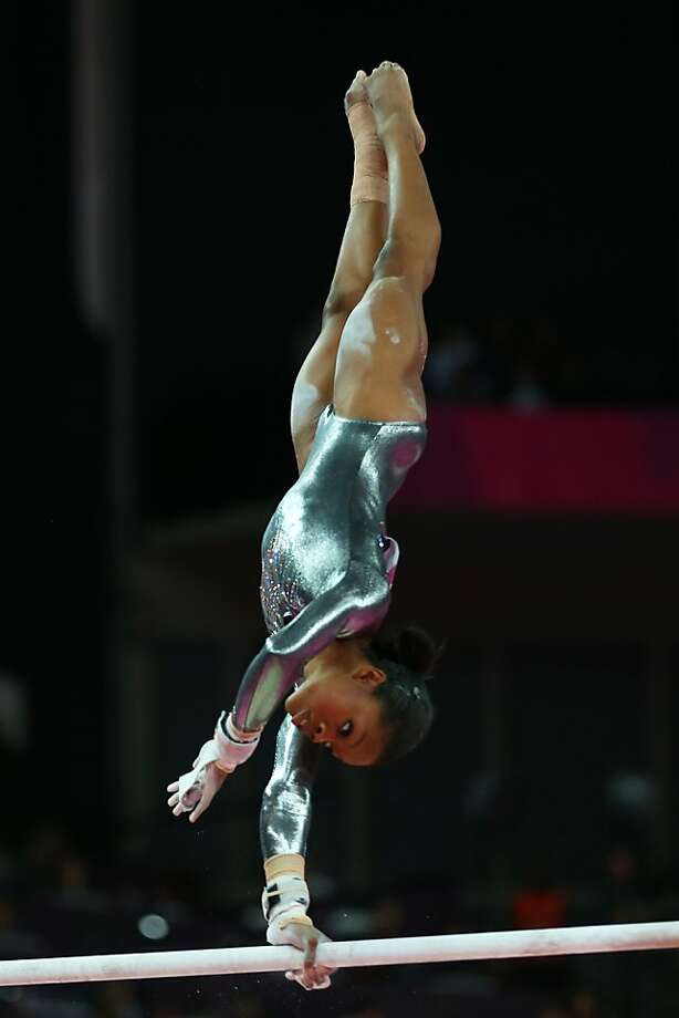 Gabby Douglas, who was first last week in the women's gymnastics all-around competition, finished last among the eight finalists in the uneven bars. Photo: Ryan Pierse, Getty Images