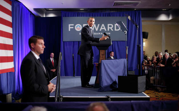 President Barack Obama speaks at a campaign fundraiser in Stamford, Conn., Monday, Aug., 6, 2012. (AP Photo/Pablo Martinez Monsivais) Photo: Pablo Martinez Monsivais