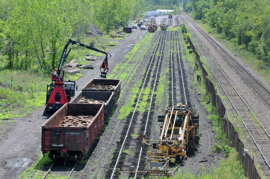 Work is being done on the tracks of the former D&H railyard near the Watervliet Arsenal, on Monday Aug. 6, 2012 in Colonie, NY.   (Philip Kamrass / Times Union) Photo: Philip Kamrass / 00018742A