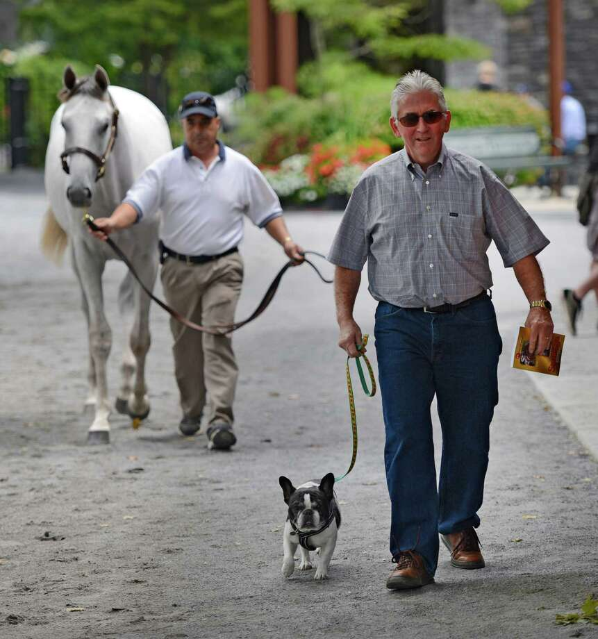 Trainer Tom Bush takes his dog for a walk at the Fasig Tipton Sales grounds as a showman takes a sales yearling for a walk in the background in Saratoga Springs, N.Y. Aug 6, 2012. (Skip Dickstein/Times Union) Photo: Skip Dickstein