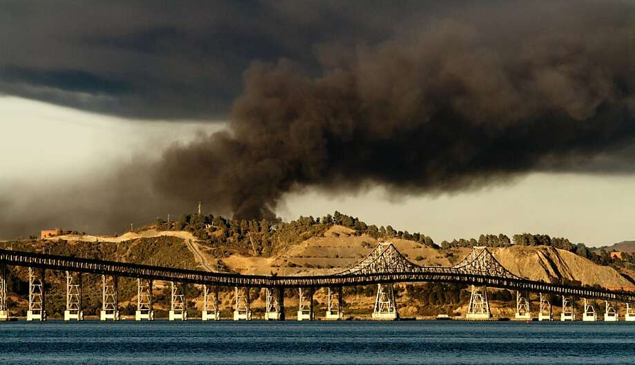 Fire at the Chevron Refinery in Richmond as seen from Tiburon, Calif. on Monday August 6th,  2012. Photo: John Storey, Special To The Chronicle
