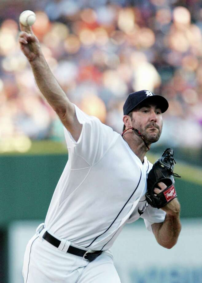 Detroit Tigers starter Justin Verlander pitches against the New York Yankees in the first inning of a baseball game Monday, Aug. 6, 2012, in Detroit. (AP Photo/Duane Burleson) Photo: Duane Burleson