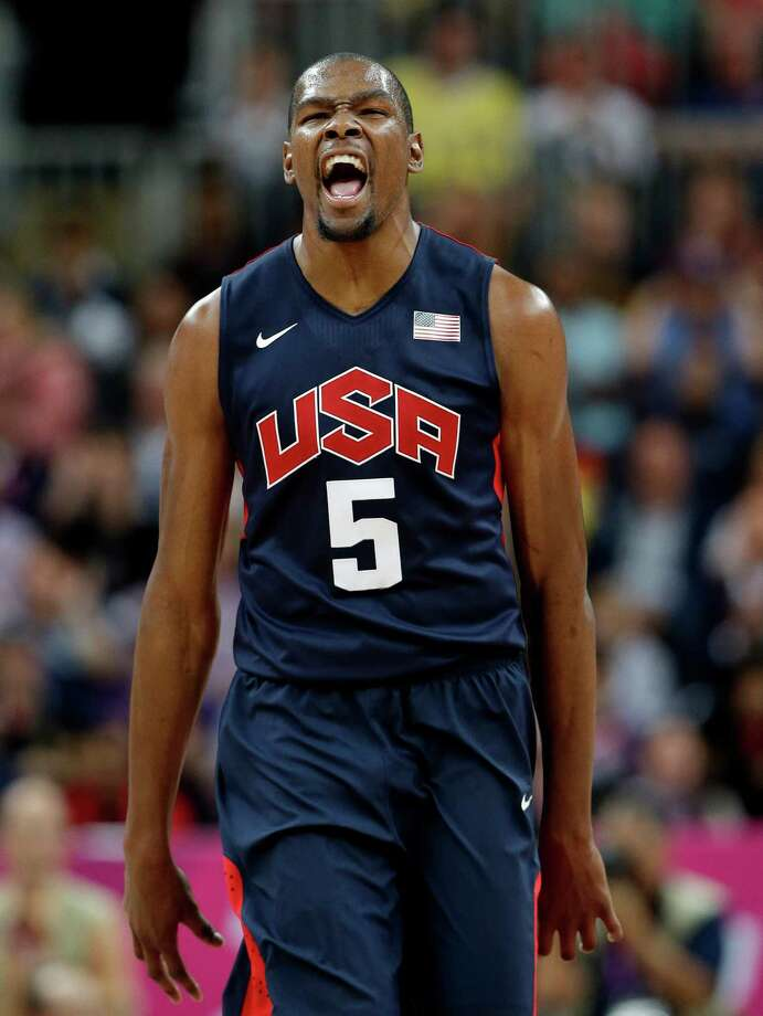 USA's Kevin Durant reacts after hitting a three point basket during a preliminary men's basketball game  against Argentina at the 2012 Summer Olympics, Monday, Aug. 6, 2012, in London. (AP Photo/Eric Gay) Photo: Eric Gay