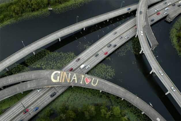 This picture shows just a small edge of the Arboretum and a 2007 message for Gina on the unused overpass to State Route 520. Photo: JOSHUA TRUJILLO, SEATTLEPI.COM FILE