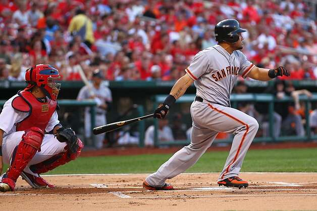 Melky Cabrera #53 of the San Francisco Giants hits a single against the St. Louis Cardinals at Busch Stadium on August 6, 2012 in St. Louis, Missouri.  (Photo by Dilip Vishwanat/Getty Images) Photo: Dilip Vishwanat, Getty Images