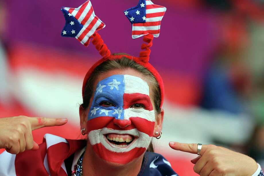 MANCHESTER, ENGLAND - AUGUST 06:  A USA fan during the Women's Football Semi Final match between Canada and USA, on Day 10 of the London 2012 Olympic Games at Old Trafford on August 6, 2012 in Manchester, England. Photo: Stanley Chou, Getty Images / 2012 Getty Images