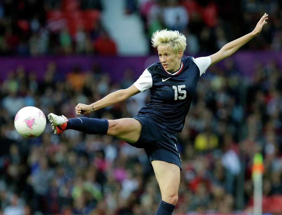 United States' Megan Rapinoe, kicks the ball during the semifinal women's soccer match between the United States and Canada at the 2012 London Summer Olympics, in Manchester, England, Monday, Aug. 6, 2012. Photo: Hussein Malla, AP / AP