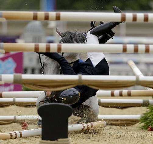 An equestrian fall could be dangerous. (AP)
