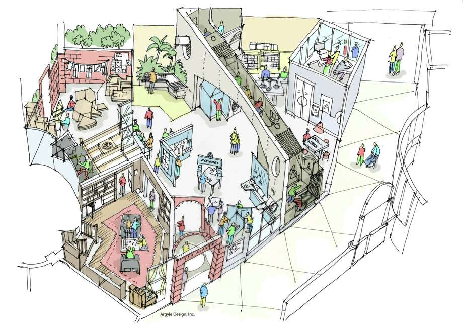 The Spy Academy sketched in this drawing will test a child's math and science skills in building a profile and solving a set of problems. Kids can get their name on the Spy Wall of Fame. Photo: Courtesy Argyle Design Inc.