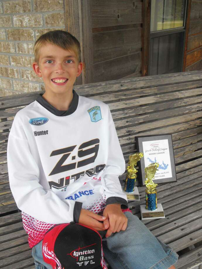 Hunter Martindale with his Ignition Bass YFL gear and trophies Photo: Courtesy Photo/ Stephanie Martindale