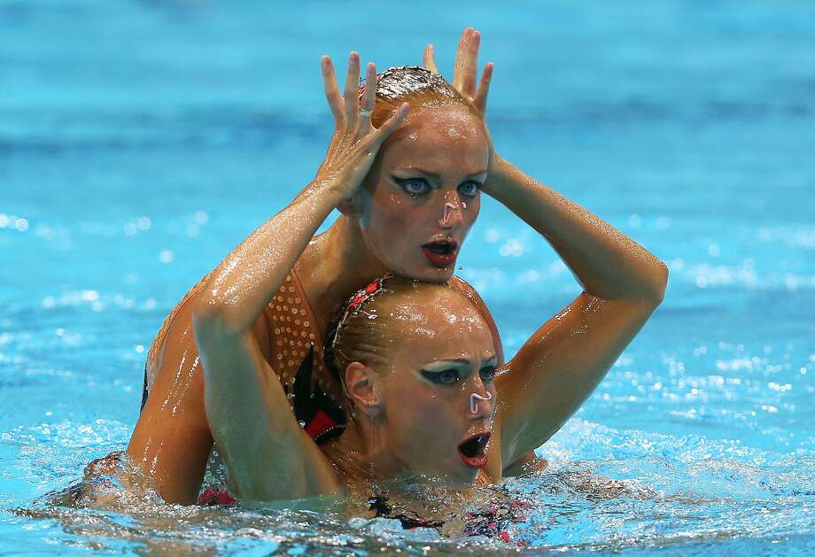 Daria Iushko and Kseniya Sydorenko of the Ukraine compete in the Women's Duets Synchronised Swimming Free Routine Preliminary on Day 10 of the London 2012 Olympic Games at the Aquatics Centre on August 6, 2012 in London, England.   (Clive Rose / Getty Images)