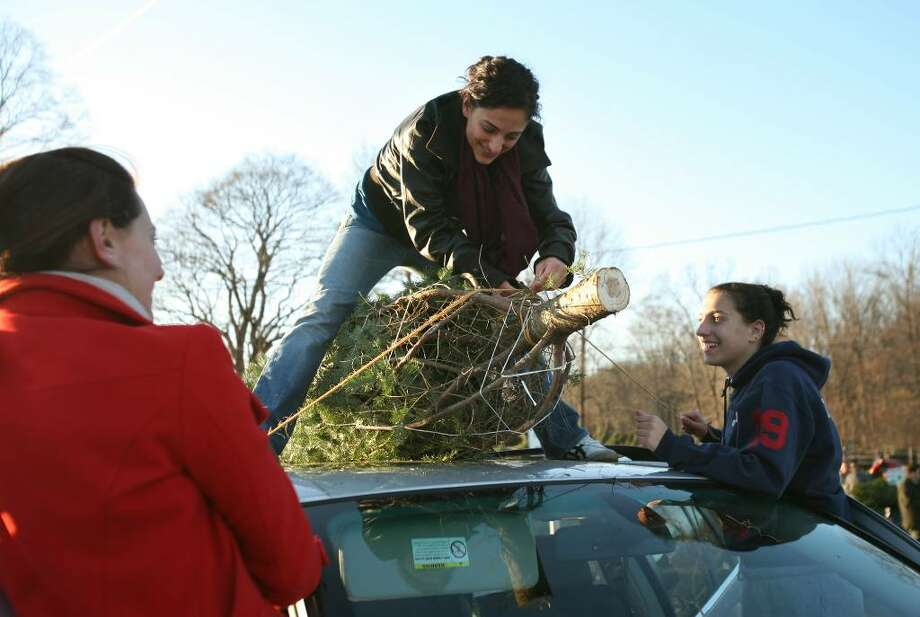 From left; Norwalk sisters Lizzie, Stella, and Yanna Tarasidis tie a Christmas tree to the roof of their car at Maple Row Tree Farm in Easton. Photo: Brian A. Pounds / Connecticut Post
