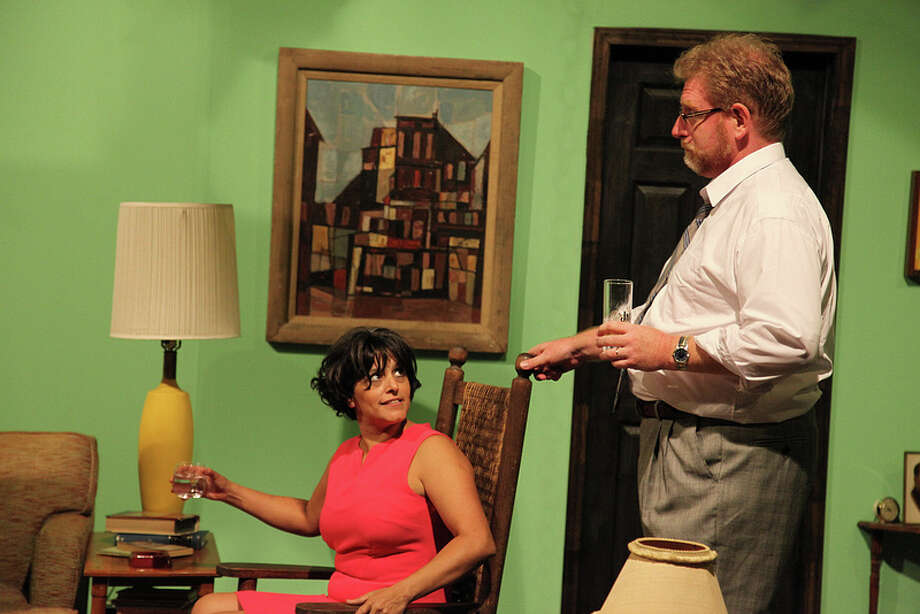 "Gloria Sanchez-Molina (from left) and David Connelly play Martha and George in AtticRep's ""Who's Afraid of Virginia Woolf?"" Courtesy AtticRep"