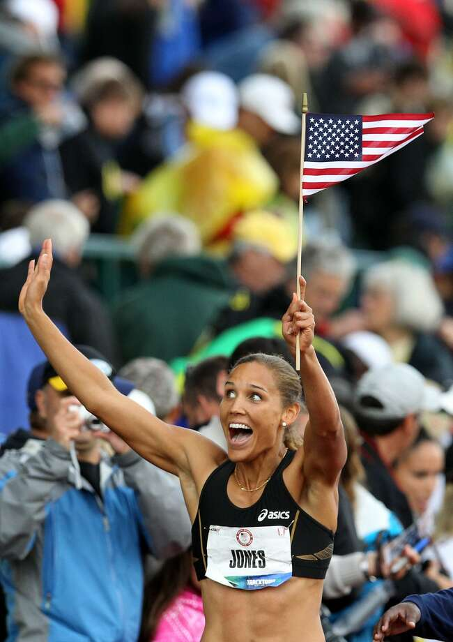 Lolo Jones reacts after qualifying for 2012 Olympics after coming in third in the women's 100-meter hurdles final of the 2012 U.S. Olympic Track & Field Team Trials at Hayward Field on June 23, 2012, in Eugene, Ore.  (Photo by Christian Petersen/Getty Images) (Christian Petersen / Getty Images)