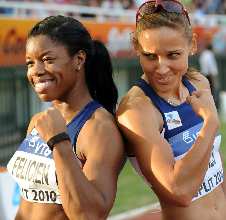 Lolo Jones of US (L) and Perdita Felicien of Canada jokes after the women's 400m hurdles during the IAAF Continental Cup in Split, on Sept. 5, 2010. Jones finished second and Felicien third.  (HRVOJE POLAN/AFP/Getty Images) (HRVOJE POLAN / AFP/Getty Images)