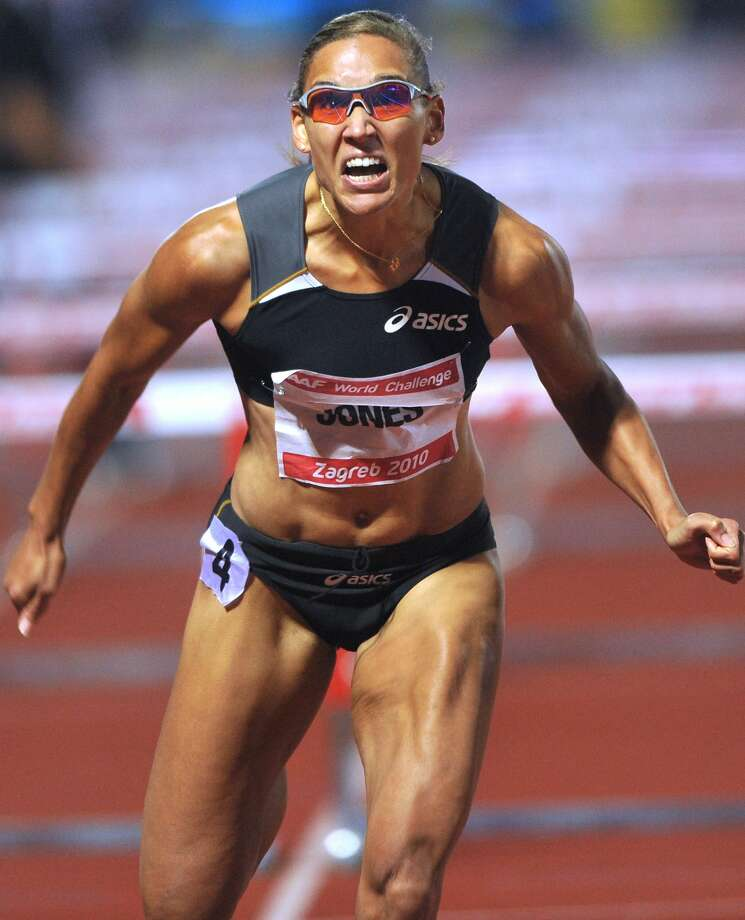 Lolo Jones of US competes at the 100 meters hurdles women race during the IAAF World Challenge athletics meeting in Zagreb, on Sept. 1, 2010. Jones won the race.   (HRVOJE POLAN/AFP/Getty Images) (HRVOJE POLAN / AFP/Getty Images)