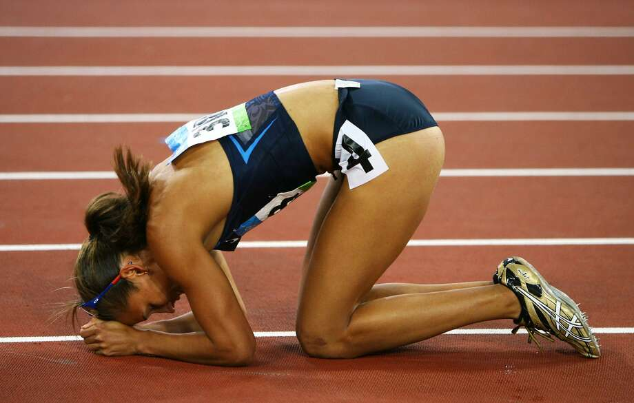 Lolo Jones of the United States looks dejected after the women's 100m hurdles final held at the Beijing 2008 Olympic Games on Aug. 19, 2008 in Beijing, China.  (Photo by Clive Brunskill/Getty Images) (Clive Brunskill / Getty Images)