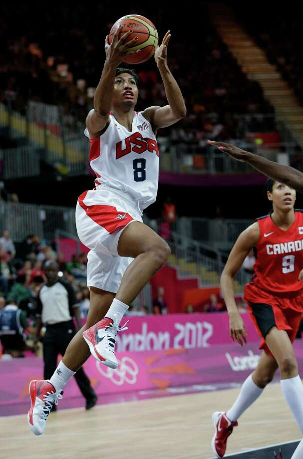 USA's Angel McCoughtry drives to the basket against Canada during a quarterfinal women's basketball game at the 2012 Summer Olympics, Tuesday, Aug. 7, 2012, in London. (AP Photo/Eric Gay) Photo: Eric Gay, Associated Press / AP