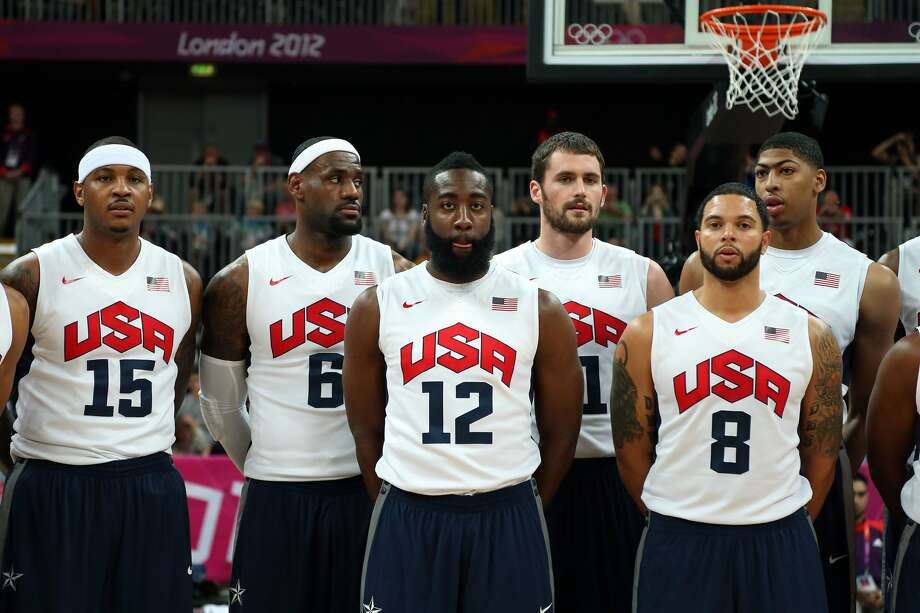 Carmelo Anthony, LeBron James, James Harden, Kevin Love, Deron Williams and Anthony Davis of the United States Men's Basketball team poses prior to their game against France on Day 2 of the London 2012 Olympic Games at the Basketball Arena on July 29, 2012 in London, England.  (Christian Petersen / Getty Images)