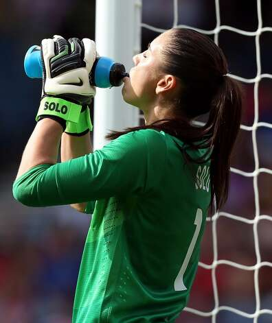 GLASGOW, SCOTLAND - JULY 25: Hope Solo of USA drinks during the Women's Football first round Group G Match of the London 2012 Olympic Games between United States and France, at Hampden Park on July 25, 2012 in Glasgow, Scotland.  (Photo by Stanley Chou/Getty Images) (Stanley Chou / Getty Images)