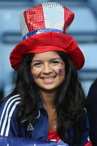 GLASGOW, SCOTLAND - JULY 28:  A USA fan shows support during the Women's Football first round Group G match between United States and Colombia on Day 1 of the London 2012 Olympic Games at Hampden Park on July 28, 2012 in Glasgow, Scotland.  (Photo by Stanley Chou/Getty Images) (Stanley Chou / Getty Images)