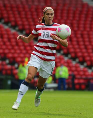 GLASGOW, SCOTLAND - JULY 28:  Alex Morgan of USA controls the ball during the Women's Football first round Group G match between United States and Colombia on Day 1 of the London 2012 Olympic Games at Hampden Park on July 28, 2012 in Glasgow, Scotland.  (Photo by Stanley Chou/Getty Images) (Getty Images)