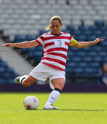 GLASGOW, SCOTLAND - JULY 28:  Christie Rampone of USA kicks during the Women's Football first round Group G match between United States and Colombia on Day 1 of the London 2012 Olympic Games at Hampden Park on July 28, 2012 in Glasgow, Scotland.  (Photo by Stanley Chou/Getty Images) (Getty Images)
