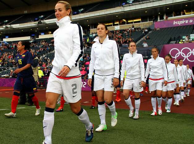 GLASGOW, SCOTLAND - JULY 28:  Team USA enters the field during the Women's Football first round Group G match between United States and Colombia on Day 1 of the London 2012 Olympic Games at Hampden Park on July 28, 2012 in Glasgow, Scotland.  (Photo by Stanley Chou/Getty Images) (Getty Images)