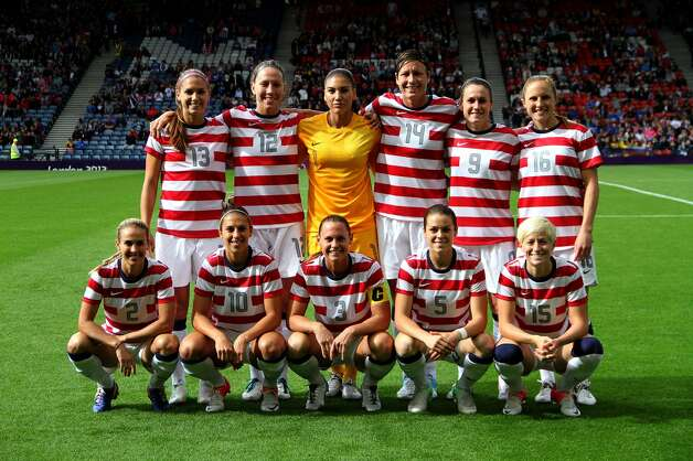 GLASGOW, SCOTLAND - JULY 28: Team USA poses during the Women's Football first round Group G match between United States and Colombia on Day 1 of the London 2012 Olympic Games at Hampden Park on July 28, 2012 in Glasgow, Scotland.  (Photo by Stanley Chou/Getty Images) (Getty Images)