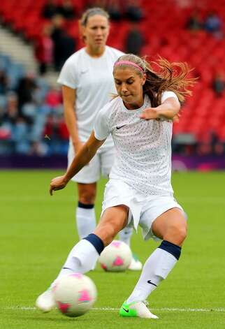 GLASGOW, SCOTLAND - JULY 28:  Alex Morgan of USA in action during warm up during the Women's Football first round Group G match between United States and Colombia on Day 1 of the London 2012 Olympic Games at Hampden Park on July 28, 2012 in Glasgow, Scotland.  (Photo by Stanley Chou/Getty Images) (Getty Images)