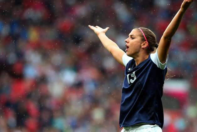MANCHESTER, ENGLAND - JULY 31:  Alex Morgan of United States reacts during the Women's Football first round Group G match between the United States and DPR Korea,on Day 4 of the London 2012 Olympic Games at Old Trafford on July 31, 2012 in Manchester, England.  (Photo by Stanley Chou/Getty Images) (Getty Images)