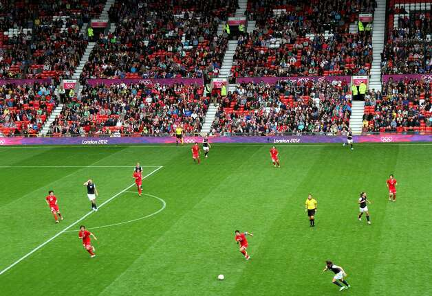 MANCHESTER, ENGLAND - JULY 31: General view during the Women's Football first round Group G match between the United States and DPR Korea,on Day 4 of the London 2012 Olympic Games>> at Old Trafford on July 31, 2012 in Manchester, England.  (Photo by Stanley Chou/Getty Images) (Stanley Chou / Getty Images)