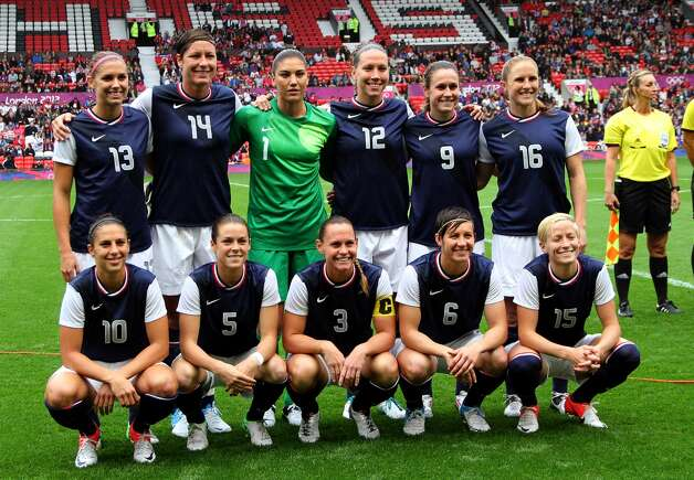 MANCHESTER, ENGLAND - JULY 31: USA poses for photographs before kick off during the Women's Football first round Group G match between the United States and DPR Korea,on Day 4 of the London 2012 Olympic Games at Old Trafford on July 31, 2012 in Manchester, England.  (Photo by Stanley Chou/Getty Images) (Stanley Chou / Getty Images)