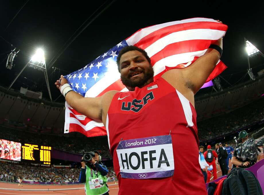 Reese Hoffa of the United States celebrates his bronze medal in the Men's Shot Put Final on Day 7 of the London 2012 Olympic Games at Olympic Stadium on August 3, 2012 in London, England. (Alexander Hassenstein / Getty Images)
