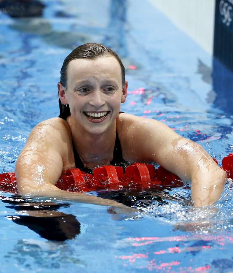 Katie Ledecky reacts after her gold medal finish in the women's 800-meter freestyle swimming final at the Aquatics Centre in the Olympic Park during the 2012 Summer Olympics, London, Friday, Aug. 3, 2012.  (Jae C. Hong / Associated Press)