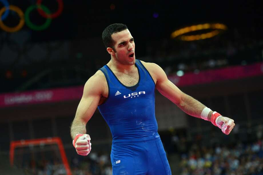 US gymnast Danell Leyva reacts during the men's individual all-around competition of the artistic gymnastics event of the London Olympic Games on August 1, 2012 at the 02 North Greenwich Arena in London. Japanese superstar Kohei Uchimura romped to the individual all-around gymnastics title to claim his first Olympic gold medal while Germany's Marcel Nguyen took the silver medal, with Danell Leyva of the United States winning the bronze. (EMMANUEL DUNAND / AFP/Getty Images)