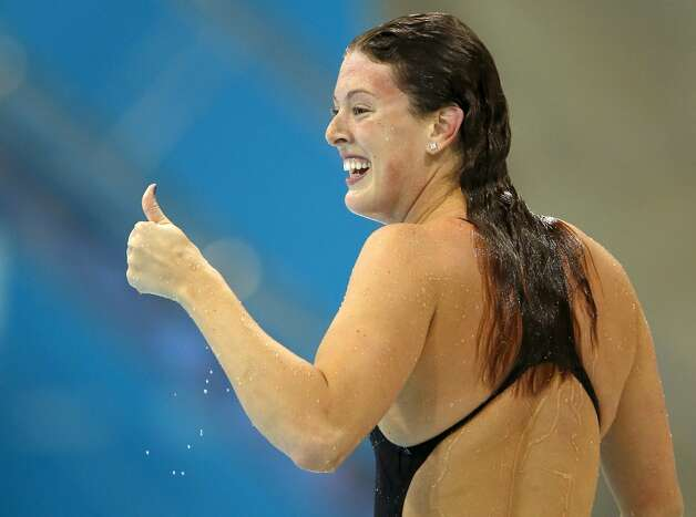 United States' Allison Schmitt reacts after winning the gold medal in the women's 200-meter freestyle swimming final at the Aquatics Centre in the Olympic Park during the 2012 Summer Olympics in London, Tuesday, July 31, 2012.  (Daniel Ochoa De Olza / Associated Press)