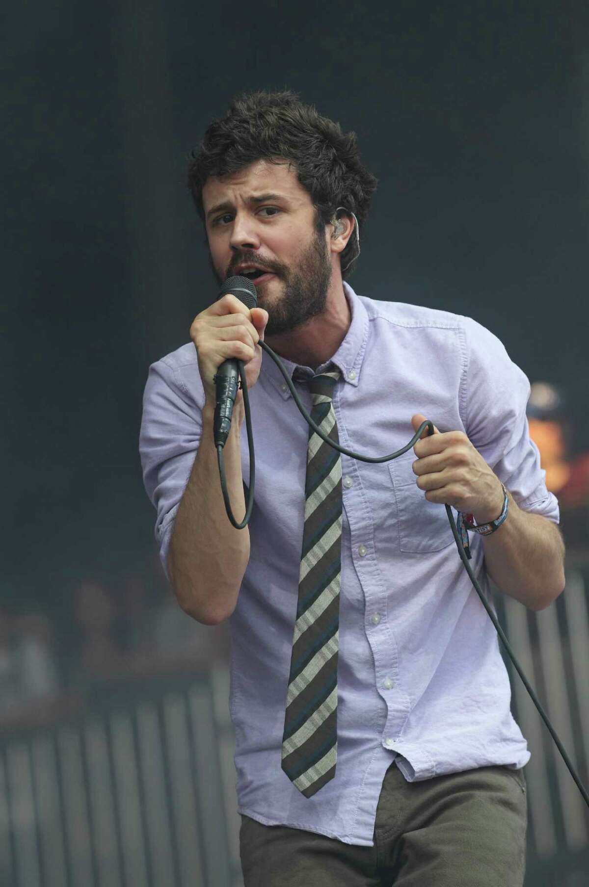 Michael Angelakos of the electro-pop band Passion Pit performs at the Lollapalooza music festival on opening day in Chicago's Grant Park on Friday, Aug. 3, 2012. (Photo by Steve C. Mitchell/Invision/AP)