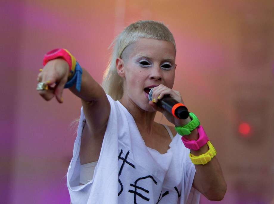 Yolandi Vi$$er from Die Antwoord performs at Lollapalooza in Chicago's Grant Park on Friday, Aug. 3, 2012. Photo: SITTHIXAY DITTHAVONG/INVISION/AP