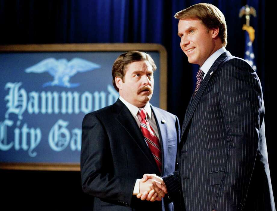 "(L-r) ZACH GALIFIANAKIS as Marty Huggins and WILL FERRELL as Cam Brady in ""The Campaign"" Photo: Warner Bros. Pictures"